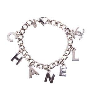 ilver Rare Cc Logo Spelled Out Chain Bracelet